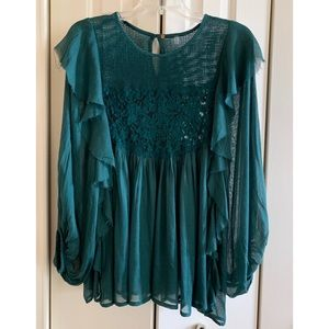 NWT💚Free People Green Blouse